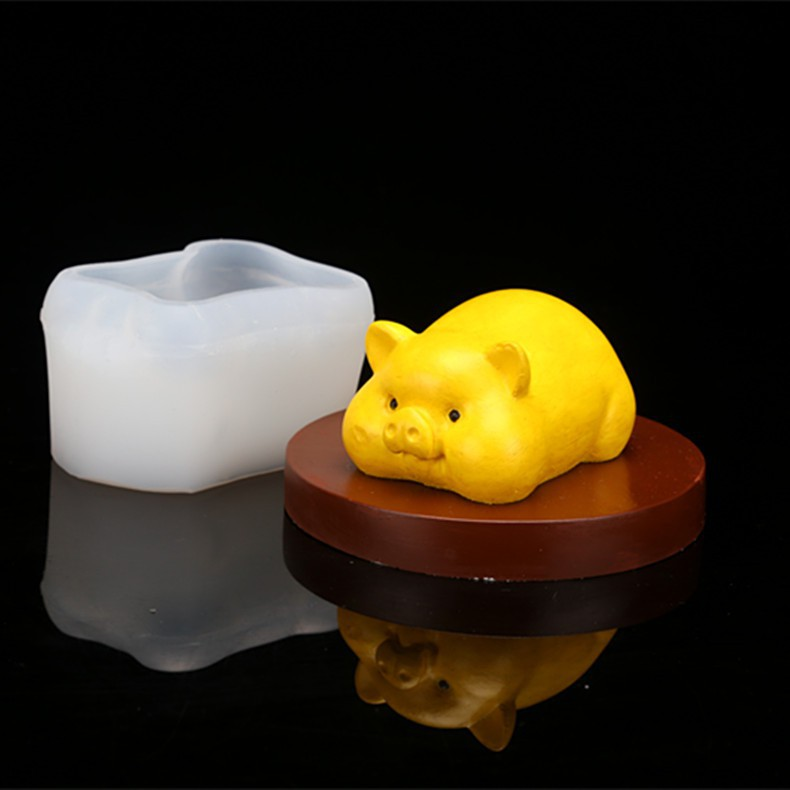 Khuôn silicon 4d làm rau câu làm bánh mẫu Heo Nằm