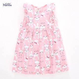 Váy bé gái sát nách mùa hè Little Maven hàng hãng cao cấp váy bèo ngực họa tiết thỏ hồng ngộ nghĩnh đủ size 2-7T
