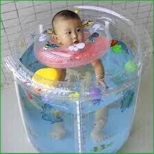 (Rẻ_Nhất)Set bể bơi siêu bền phao hình tròn kèm phao cổ, bơm chân cho bé sơ sinh