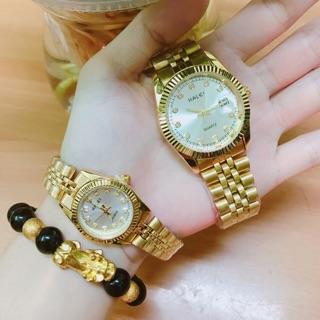 Cặp đồng hồ đôi Halei dây thép vàng mặt trắng có lịch thumbnail