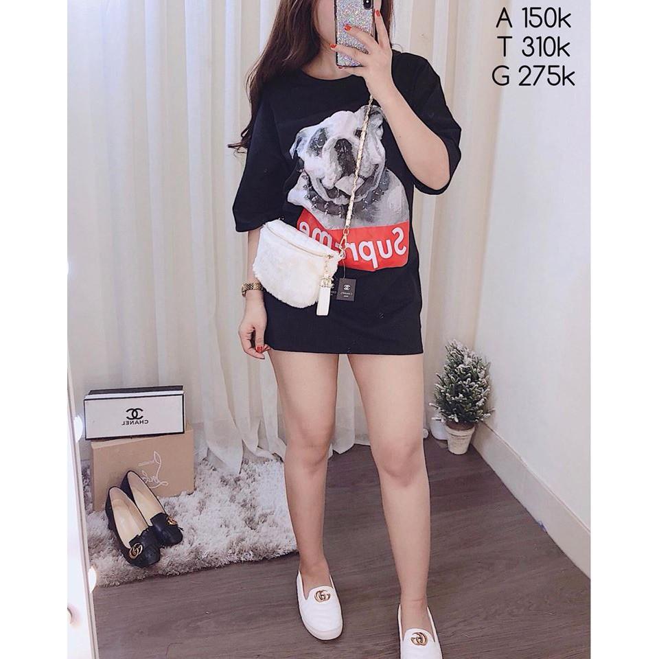Áo thun tay lỡ cún Supre kèm ẢNH THẬT chụp di động dành cho NAM NỮ - mặc ÁO ĐÔI kiểu áo phông form r