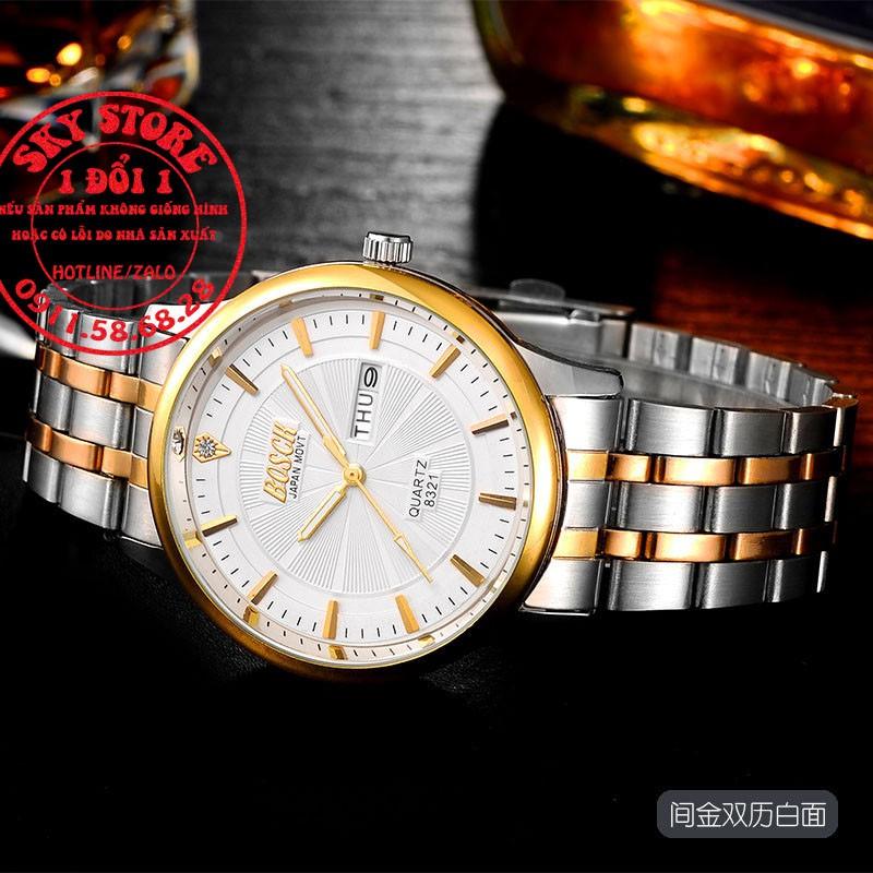 Đồng hồ nam BOSCK 8833 dây thép dermi cao cấp