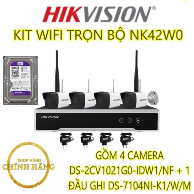 KIT WIFI TRỌN BỘ NK42W0 (GỒM 4 CAMERA DS-2CV1021G0-IDW1/NF + 1 ĐẦU GHI DS-7104NI-K1/W/M
