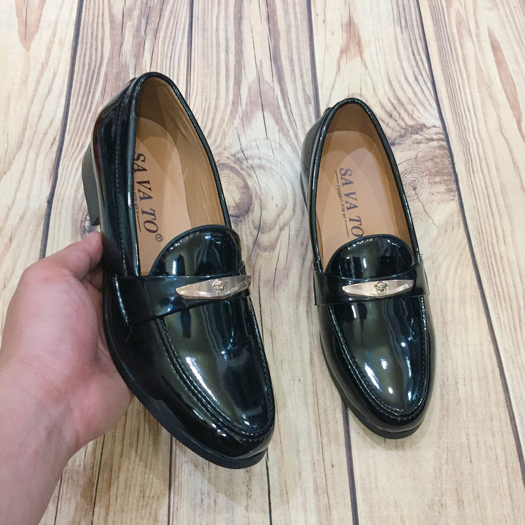 Giày tây nam da bóng đai kim loại vàng logo vs may đế ( Chất St