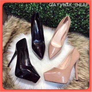 Giày nữ cao gót đế đúp mũi chim da bóng 13cm