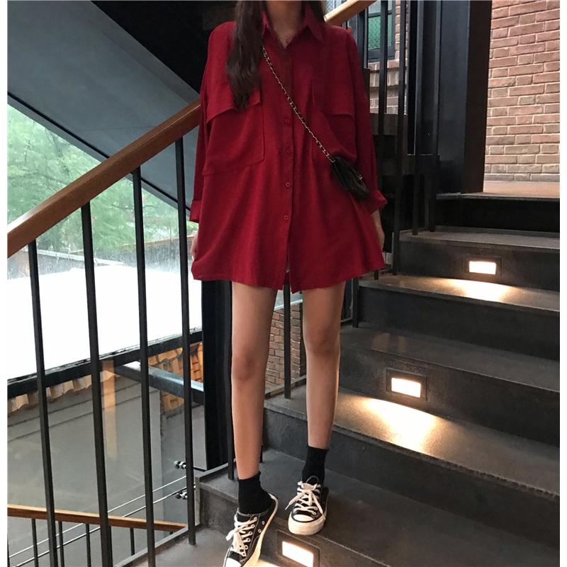 ที่หุ้มขา แฟชั่นสตรีเสื้อเชิ้ตผ้าฝ้ายคอวีสีพื้นเซ็กซี่  เสื้อ เสื้อเชิ้ตสไตล์minimal