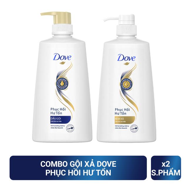Bộ sản phẩm Dove Phục Hồi Hư Tổn dầu gội 640g + kem xả