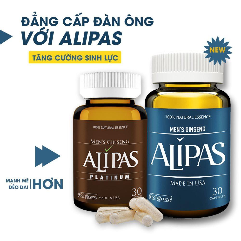 [CHÍNH HÃNG] Sâm Alipas Platinum - Viên uống tăng cường sinh lý nam. Sung Mãn Trường Tồn. -1 Liệu Trình 2 Hộp
