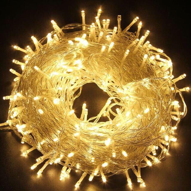 Xài điện- Dây đèn led đom đóm trang trí  không chớp nháy 7.5m 50 bóng đèn ánh sáng vàng