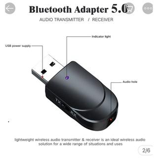 USB thu phát âm thanh Bluetooth 5.0 với cáp AUX 3.5