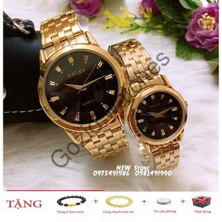 Đồng hồ cặp đôi dây thép Halei Gold black platium sang trọng, huyền bí -Gozid.watches
