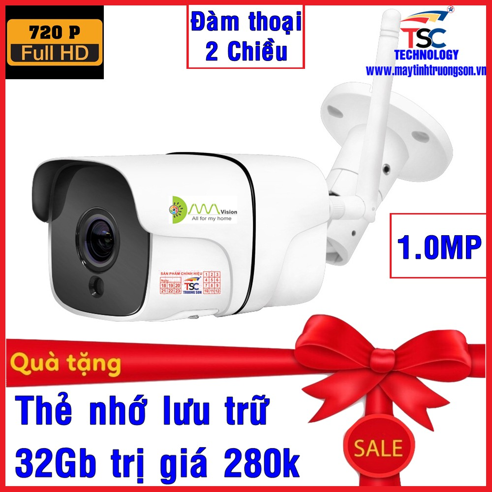 Camera IP Wifi Kiwivision A100 1.0MP Tặng Thẻ Nhớ 32Gb - Camera Ngoài Trời Đàm Thoại 2 Chiều App Icsee Pro