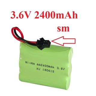 Pin sạc 3.6v Ni-MH AA dùng cho xe điều khiển dung lượng cao 2400mAh cổng nối SM thumbnail