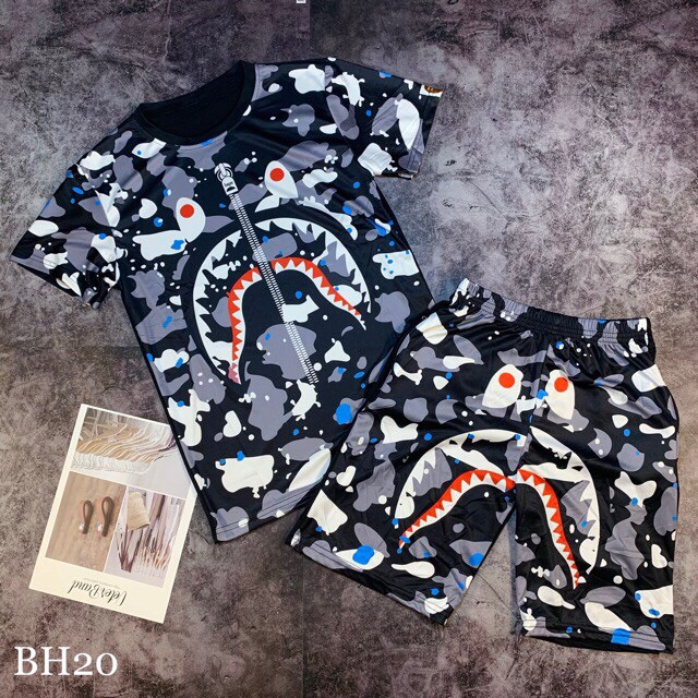 Set quần áo hè nam in 3D chất thun lạnh bape Xám - Bộ quần áo cho nam
