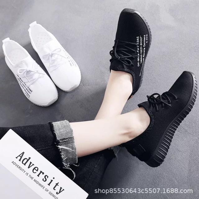 Giày Thể Thao Nữ Lưới Đen Trắng 2019