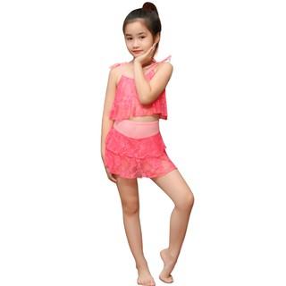 Bộ bơi bé gái hồng ren Narsis KA0005
