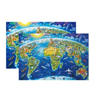 youn* 1000 Pcs/Pack World Landmarks Map Puzzle Wood Jigsaw Assemble Puzzles for Adult
