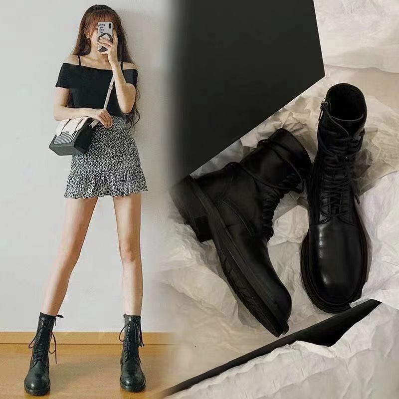 giày bốt martin phong cách retro cho nữ