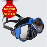 Mặt nạ lặn gắn được Gopro SJCAM mắt KÍNH CƯỜNG LỰC (Bgopro Xanh) POPO Collection