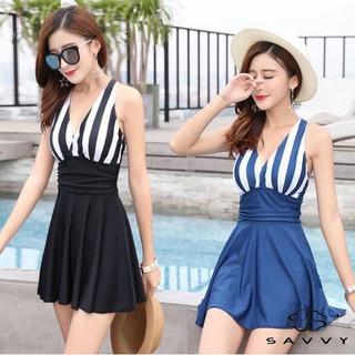Bộ Đồ Bơi Nữ, Áo Tắm Liền Thân, Váy Đi Biển Kẻ Sọc SAVVY, Đồ Tắm Cao Cấp thumbnail