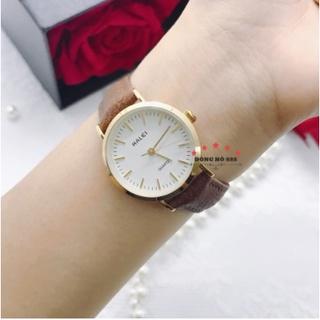 Đồng hồ nữ Halei dây da đen mặt số vạch mini mạ viền vàng sang trọng chống nước