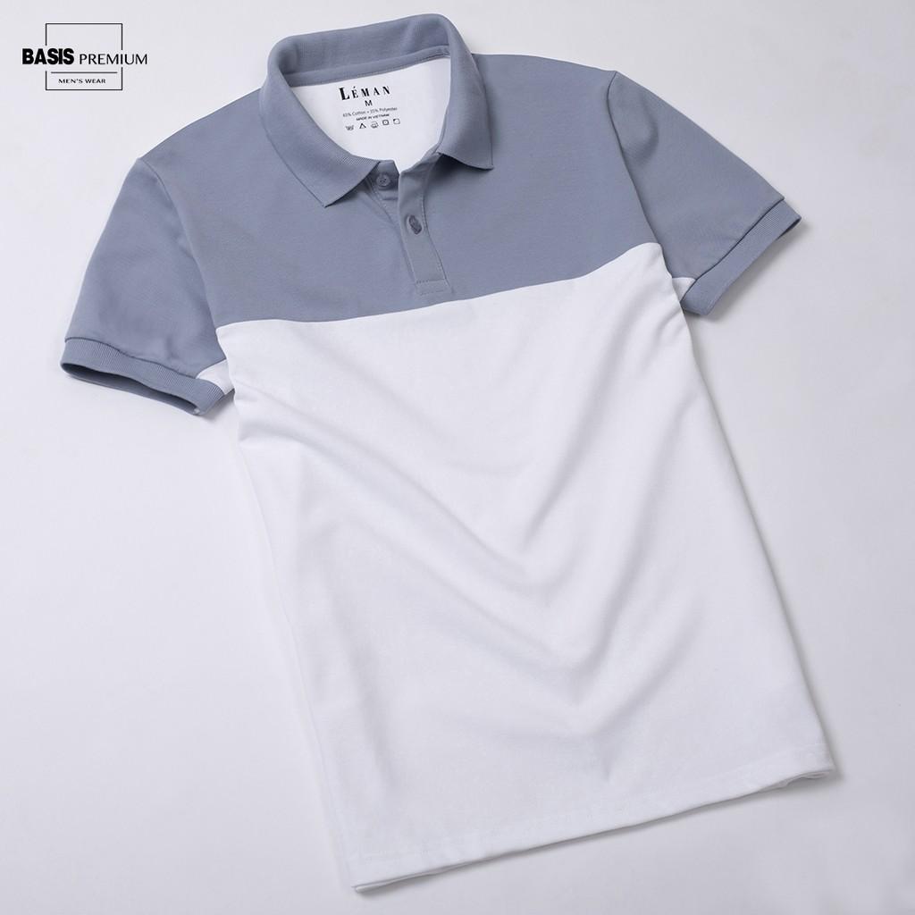Áo thun polo nam phối màu xanh trắng, thiết kế đơn giản Basis APL59