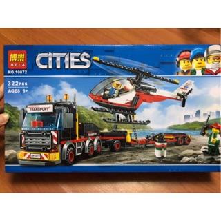 Lego City Urban lắp ráp xe ô tô bán tải chở máy bay trực thăng