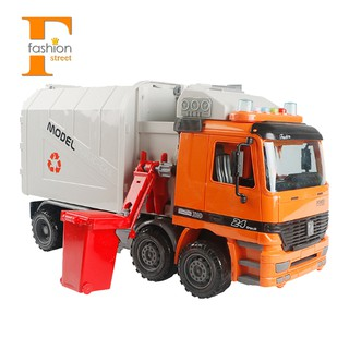 【FS】Friction Powered Rubbish Truck Vehicle Toy with 3 Bins,For Children