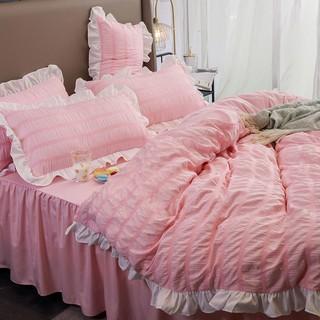 Phong cách mới mùa hè▥❁Công chúa phong thủy giặt cotton bốn mảnh cô gái trái tim giường váy seersucker chăn trải