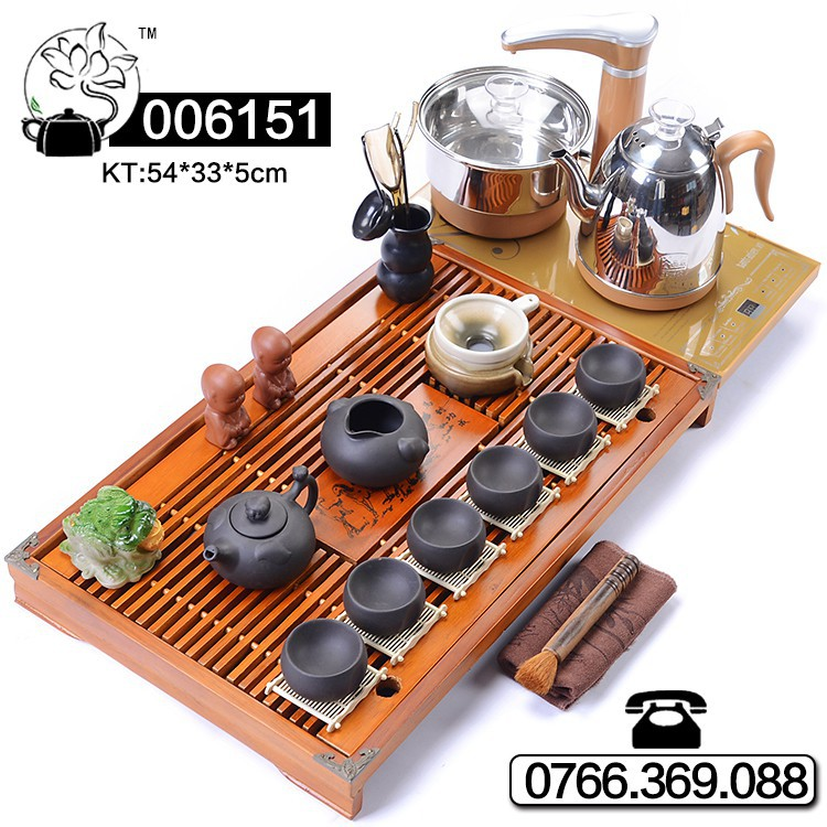 Bàn trà điện thông minh bộ ấm chén bàn gỗ bếp điện bàn đá đồ gốm - mã hàng : 006081-191