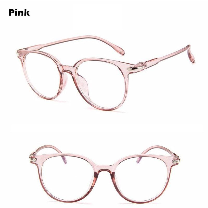 EyeWear Glasses Round Frame UV400 Female Pectacles Transparent 1Pcs