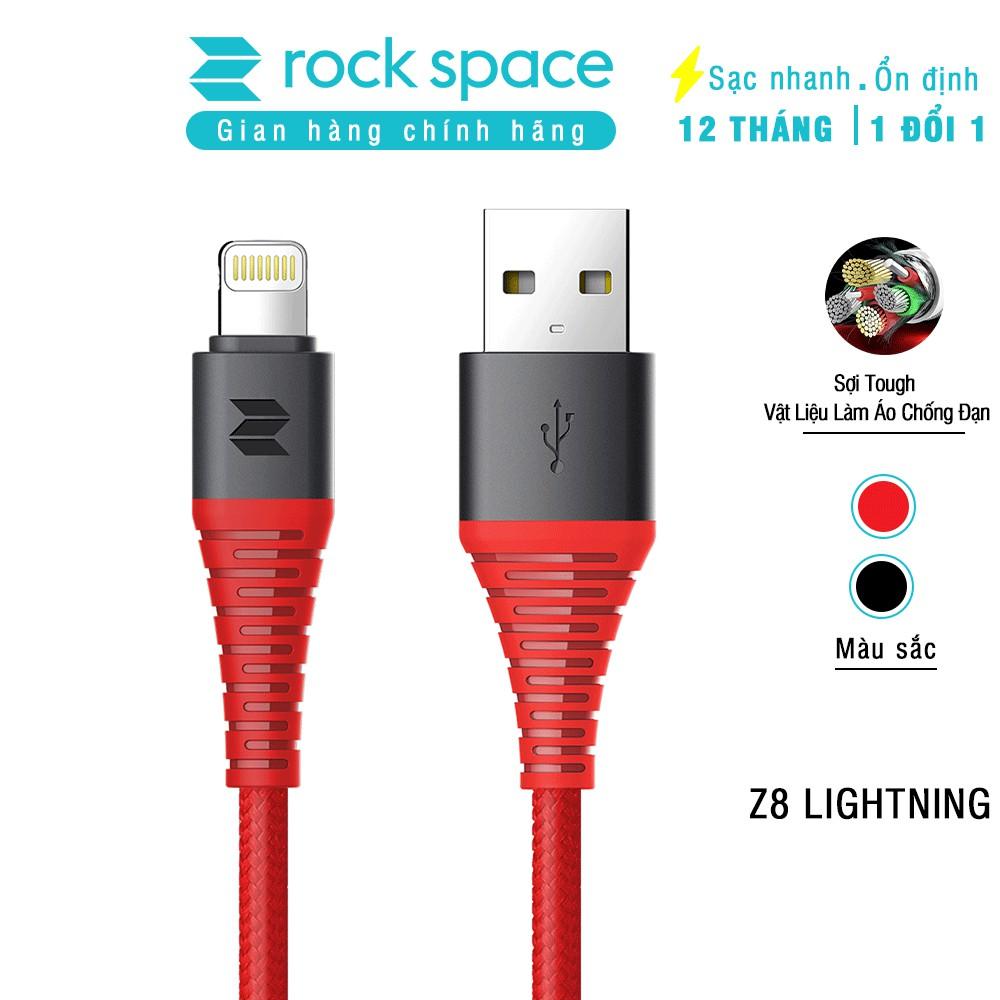 Cáp sạc cho iPhone Rockspace Z8 dây dù,màu đen, đỏ, sạc nhanh, siêu bền, hàng chính hãng bảo hành 1 năm