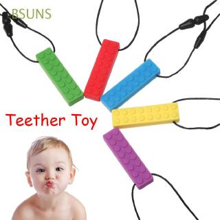 BSUNS Building Blocks Shape Pendant Molar Stick Chewing Brick Biting Silicone Pencil Topper
