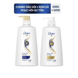 Bộ sản phẩm Dove Phục Hồi Hư Tổn dầu gội 650g kem xả 620g