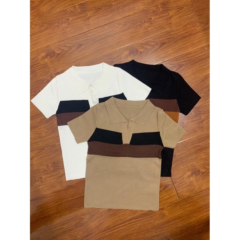 [Mã 1010FASHIONSALE9740 giảm 10K đơn 50K] áo len cổ V bẻ pha màu (347-7#)