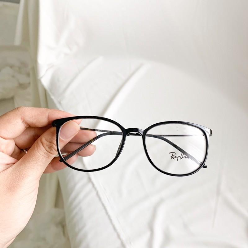👓Gọng kính tăm càng kim loại dáng bầu màu đen
