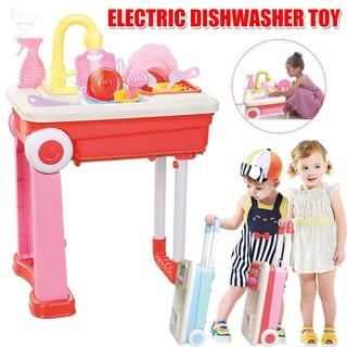 [dueplay] Role Play Kitchen Playset Toy Kids Pretend Dish Washing Set Xmas Gift for Children 2 Years Old