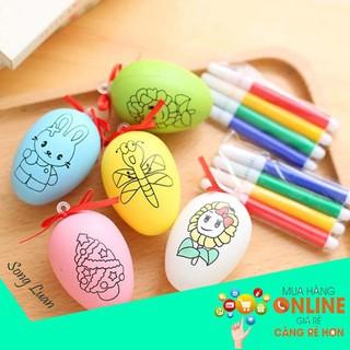 [SIÊU PHẨM] Bộ 10 quả trứng tô màu B1105 – Kèm bút màu cho bé ham học