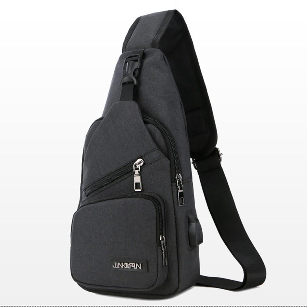Túi đeo ngực vải thô, túi đeo chéo kèm dây USB - RiBi Shop