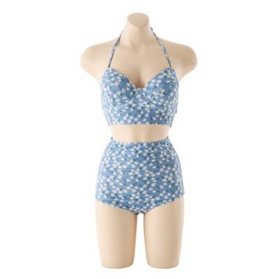 [ Hàng Có Sẵn] Bikini hoa xanh 2 mảnh quảng châu chất đẹp