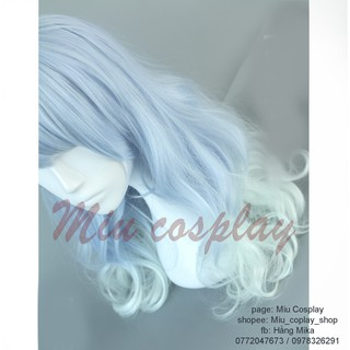 tóc giả cosplay màu xanh gia trời mix lolita
