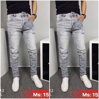 Quần jean nam cao cấp mẫu mới rẻ đẹp, quần jean nam cực hot, quần jean nam rách wash rẻ đep, QUẦN JEAN NAM RÁCH GỐI