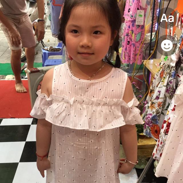 Váy trắng, váy trễ vai, vá bé gái size từ 13-22kg