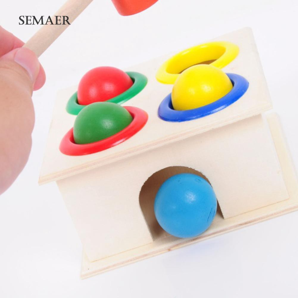 ☆ Hammering Educational Toy Children Kids Wooden Hammer Balls Early Learning Game