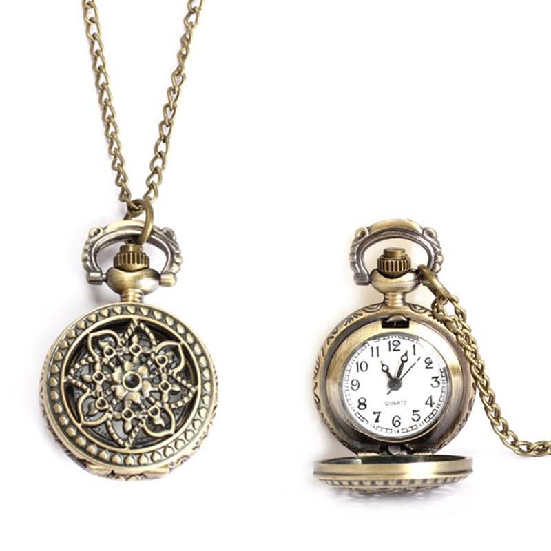 Đồng hồ quả quýt chạm khắc hình  bông hoa sen phong cách retro