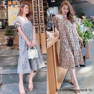 [Mã WABOOM giảm 15% đơn 99k] Đầm bầu thời trang công sở MB83 chất Hoa Lụa freesize từ 45 đến 70kg