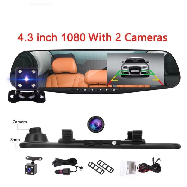 กล้องติดรถยนต์ (Car DVR) Full HD 1080P กล้องหน้า+กระจกมองหลังในตัว 4.3หน้าจอ(รับประกัน 1 เดือน)