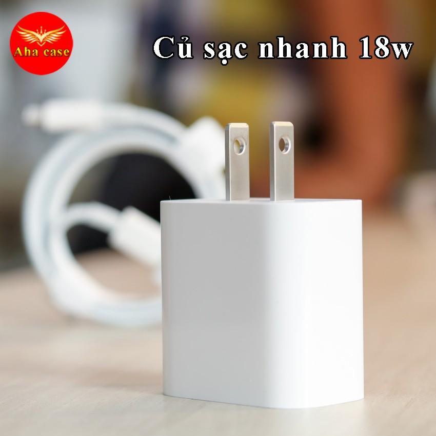 Bộ củ cáp sạc nhanh iphone 18w, SẠC CỰC NHANH cho iPhone 7P/8P/X/XS/11/11 Pro Max/12 Pro Max, chân USB-C bảo hành 1 năm