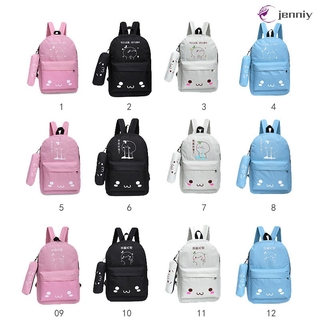 ✨JNY✨ Korean Women Travel Backpack With Pencil Case Nylon Cartoon Printing Ladies Shoulder Bags Girls Student School Bag
