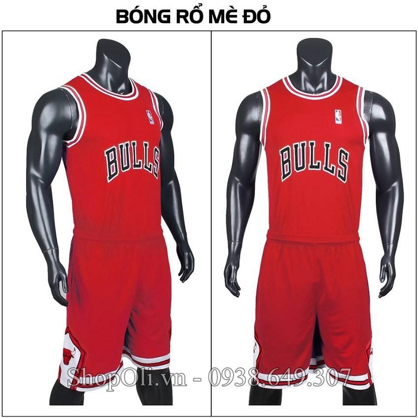 Quần áo bóng rổ BULLS chất lượng cao màu đỏ phối đen trắng